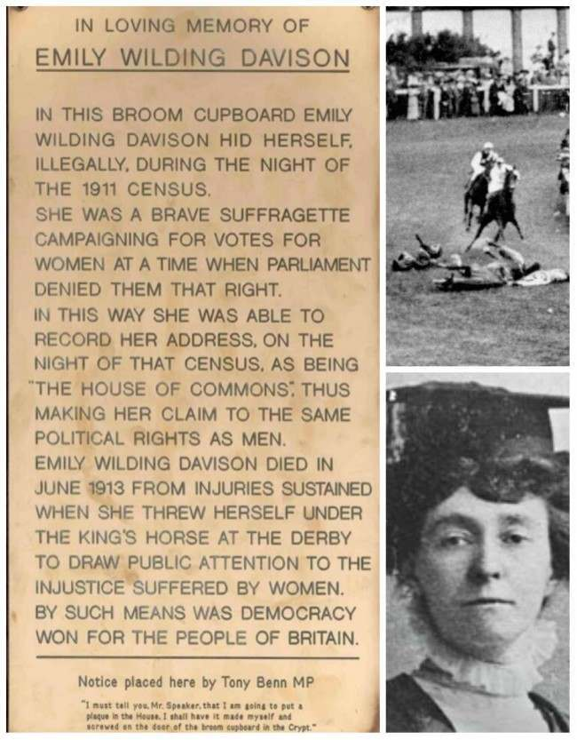 emily davidson Commons plaque Tony Benn Screwed This Tribute To Suffragette Emily Davison In A House Of Commons Broom Cupboard