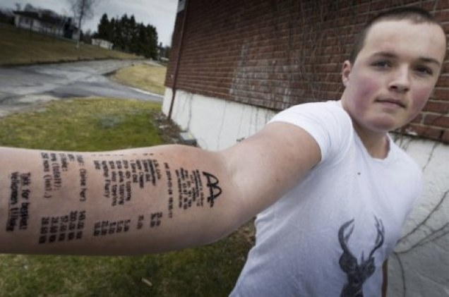 mc tattoo McDonalds Fan Stian Ytterdahl Gets Entire Menu Tattooed On His Arm