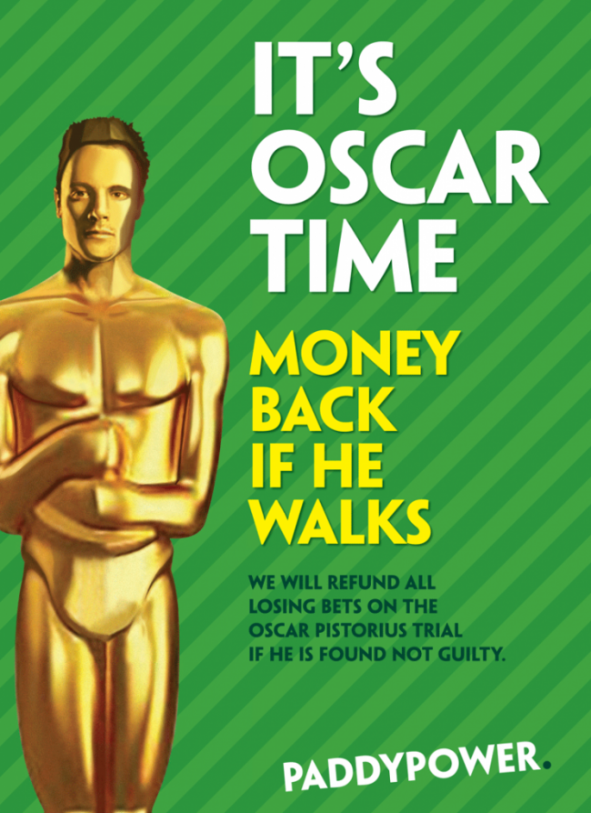 oscar time paddy power Cashing In On Oscar Pistorius: Paddy Power Aims To Make Money From A Dead Woman