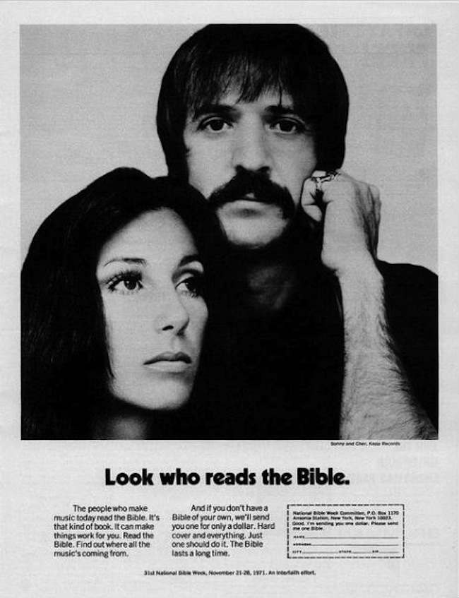 sonny and cher bible In 1978 Sonny And Cher Were Advertising The Bible