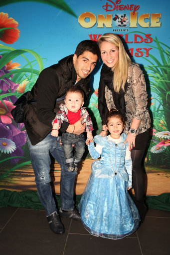 Luis Suarez his wife Sofia Balbi and their children, Benjamin and Delfina, arriving for Disney On Ice at the Echo Arena in Liverpool