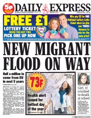 Daily Express 2 4 2014 Daily Express Says An Area Five Times The Size Of Manchester Will Drown In Migrants