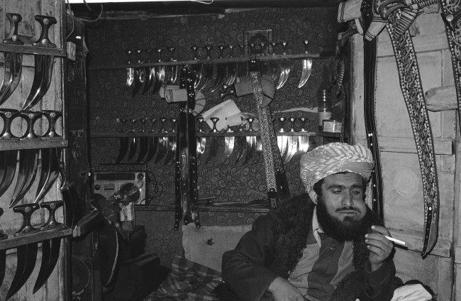 PA 10469895 1 Khat In 1985: The North Yemen Artisan Chews Khat Surrounded By His Daggers And Swords