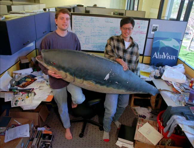 - In this March 3, 1997 file photo, Yahoo co-founders David Filo, left, and Jerry Yang, right, hold up a fish prop at Yahoo headquarters in Santa Clara, Calif. Yang is leaving the struggling company. The surprise departure, announced Tuesday, comes just two weeks after Yahoo Inc. hired former PayPal executive Scott Thomson as its CEO. (AP Photo/Paul Sakuma, File)