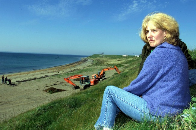 Helen McKendry back at Templetown beach in Co Louth, Irish Republic as the dig resumes after ten months, for the remains of Helen's mother Jean McConville, which is believed to be on or near the beach. Jean was abducted and murdered by the IRA before Christmas 1972. * The final search for the remains of IRA murder victims, known as The Disappeared, who were secretly buried in the Irish Republic over 20 years ago has begun. Ref #: PA.1294841  Date: 02/05/2000