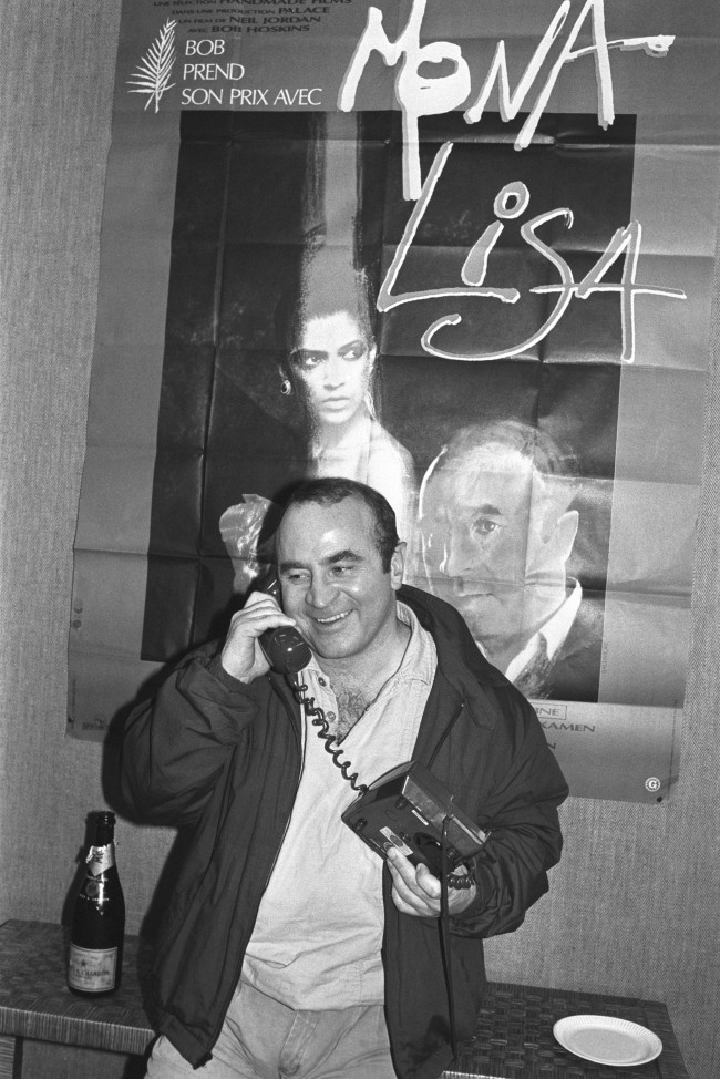 "British actor Bob Hoskins shows his pleasure as he hears that he has been nominated for the best Actor Oscar for his role in the film ""Mona Lisa"", in which he starred with Michael Caine. Ref #: PA.14274673  Date: 11/02/1987"