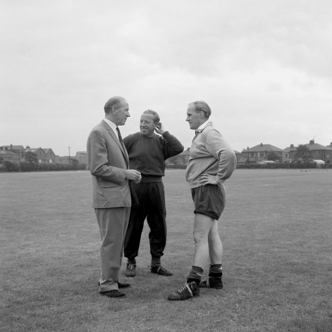 Seen here discussing pre season training are Manchester United's 'big three' - (left to right) manager Matt Busby, assistant manager Jimmy Murphy and trainer Jack Crompton. Ref #: PA.1449044  Date: 07/08/1961