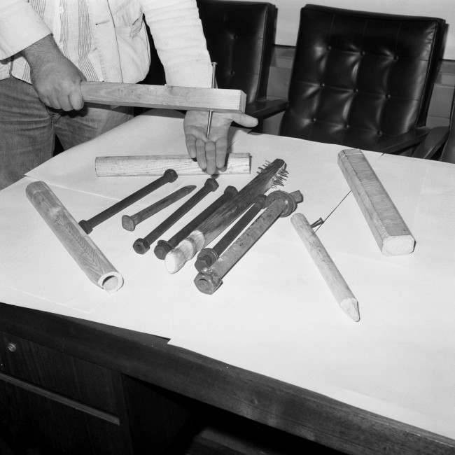 PA 17556178 1978: Weapons Seized Before West Ham Against Millwall At Upton Park
