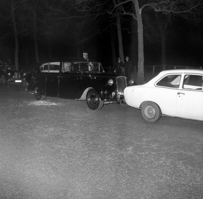 The Royal car in which Princess Anne and Captain Mark Phillips had been travelling in when it was stopped by bullets in a kidnap attempt on the Princess in Pall Mall, London. Ref #: PA.19319570  Date: 20/03/1974