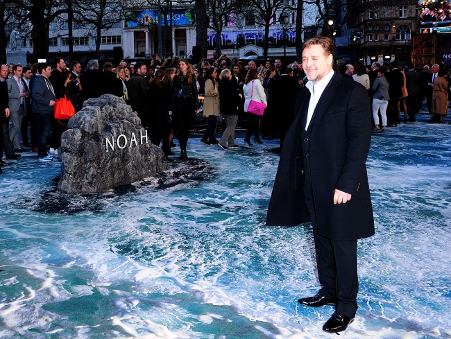 Russell Crowe arriving for the premiere of the film Noah held at the Odeon Leicester Square, central London.