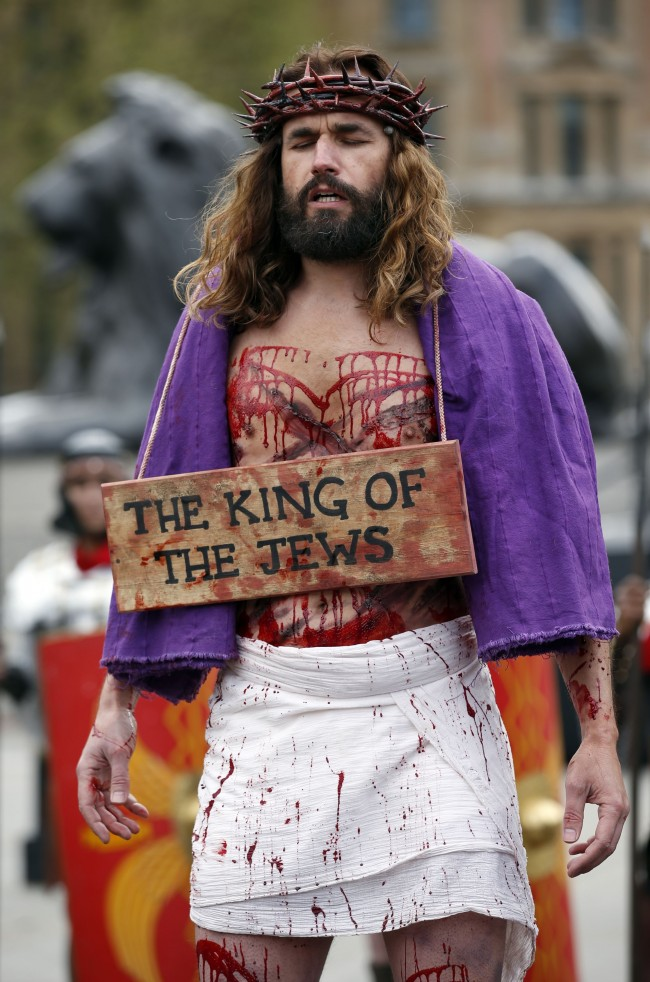 James Burke-Dunsmore: The Passion of Jesus is performed by Wintershall Players in Trafalgar Square, London.