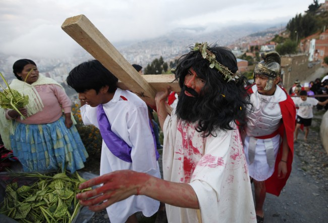 Actor Israel Montenegro plays the part of Christ before his crucifixion while reenacting the Passion of Christ on a hill above La Paz,