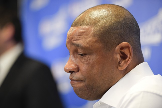 Los Angeles Clippers head coach Doc Rivers speaks during a news conference before Game 5 of an opening-round NBA basketball playoff series on Tuesday, April 29, 2014, in Los Angeles. NBA Commissioner Adam Silver announced Tuesday that Los Angeles Clippers owner Donald Sterling has been banned for life by the league, in response to racist comments the league says he made in a recorded conversation.