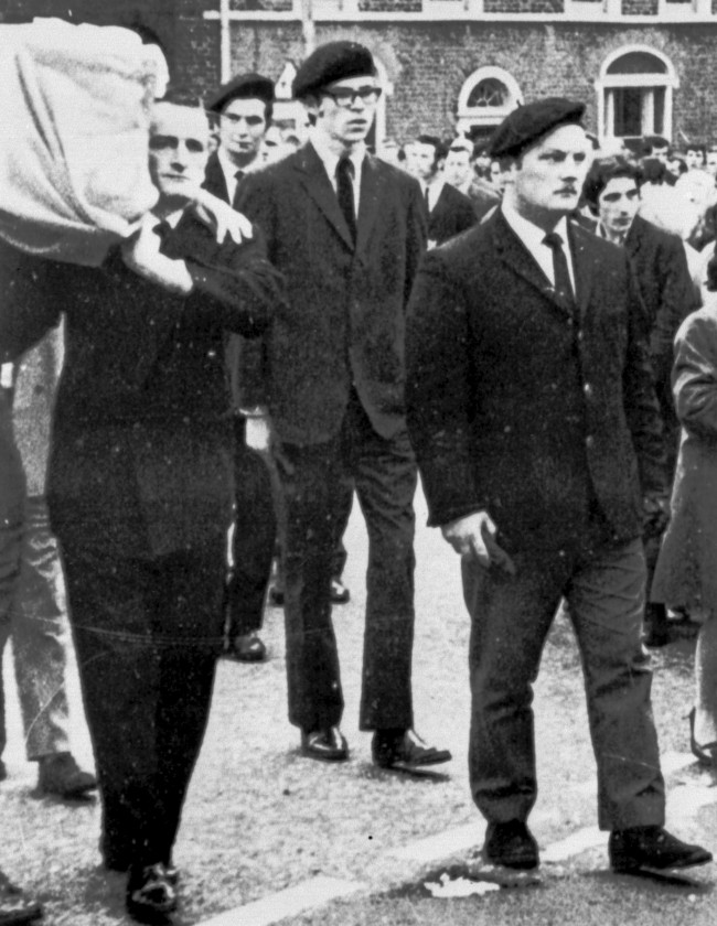 ile photo dated 29/01/1973 of Gerry Adams (centre) in the guards of honour at the funeral of an IRA member