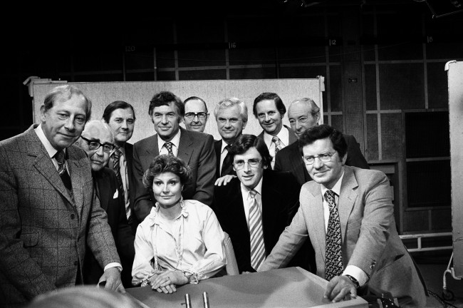 BBC TV newsreaders past and present at the BBC TV Centre in London. From Left to Right Peter Woods, John Snagge, Corbet Woodall, Bob Langley, Colin Doran, Kenneth Kendal John Timpson and Robert Dougall. Seated Anglea Rippon, Richard Whitmore and Richard Baker. Date: 26/06/1979