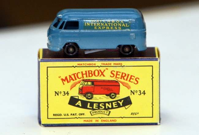 A rare blue Matchbox No.34 Volkswagen van with black wheel's, valued between 7,000 and 8,000 pounds, ($12,300-$14,000/8,700-10,000 euro), which is one of the collection of matchbox cars owned by American collector Dr Scott D Gillogly at Vectis Auctioneers in Thornaby, England Thursday Sept 11, 2008. The collection, which is valued at 570,000 pounds ($1 million/711,000 euro), is on display ahead of the auction to be held on September 16 and 17, (AP Photo/Scott Heppell)
