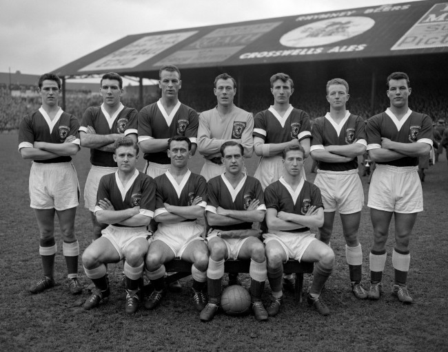 Shown here are the Welsh team who beat Israel by two goals to nil in the second leg of their World Cup eliminator at Ninian Park, Cardiff on February 5th. The Welshmen now go forward to the finals in Stockholm, beginning of June. Back Row, L to R: Alan Harrington, Stuart Williams, John Charles, John Kelsey, Melvyn Hopkins, Ivor Allchurch, Melvyn Charles. Front Row, L to R: Terence Medwin, Ronald Hewitt, David Bowen, Clifford Jones. Date: 05/02/1958