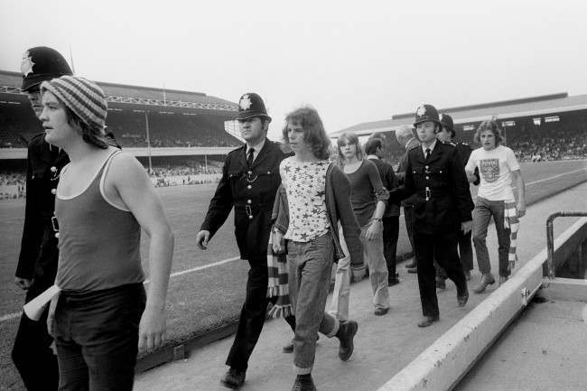 PA 9949731 3 1973: Arsenal Hooligans Ejected From The FA Cup Third Fourth Place Match With Wolverhampton Wanderers