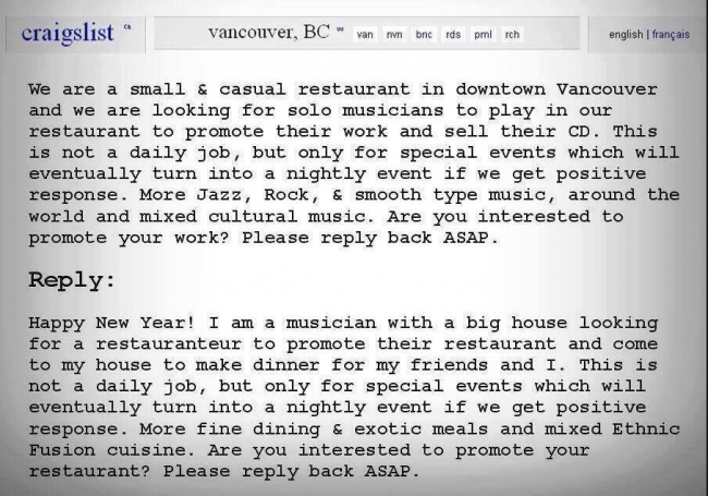 Screen shot 2014 04 04 at 23.19.13 Vancouver Restaurant Invites Musicians To Play Free Of Charge   And One Makes A Great Counter Offer
