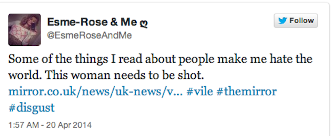 Screen shot 2014 04 24 at 09.05.51 Josie Cunningham Wants Stabbing, Punching And Shooting, Says The Righteous Twitter Mob