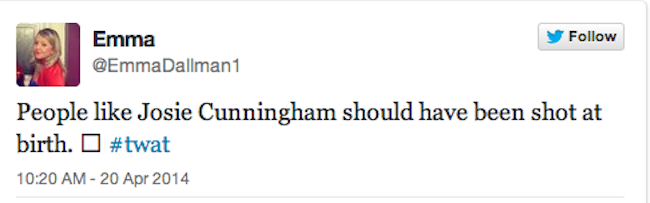 Screen shot 2014 04 24 at 09.06.06 Josie Cunningham Wants Stabbing, Punching And Shooting, Says The Righteous Twitter Mob