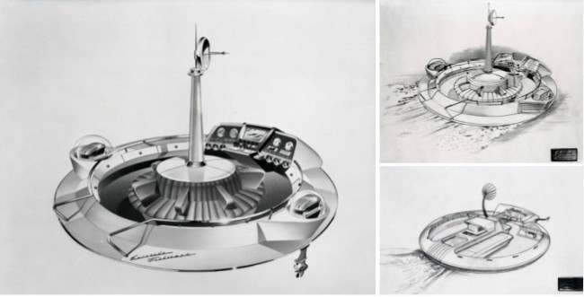 The Evinrude Fishing Saucer concept boat designed by Brooks Stevens and made for the 1957 New York Boat Show found on 1 The Evinrude Fishing Saucer Concept Boat Of 1957