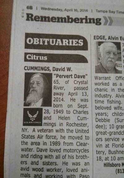david w cummings Epic Obituaries: So, Farewell David W. Cummings, aka Pervert Dave
