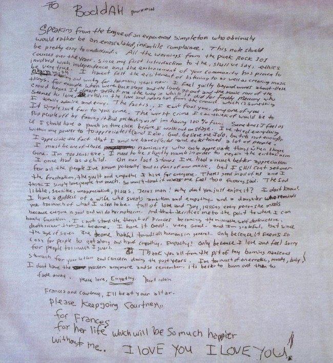 kurt cobain hand-written suicide note