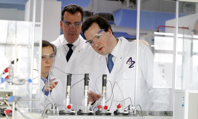 Chancellor George Osborne during a visit to the Macclesfield AstraZeneca site in Cheshire. Picture date: Thursday January 12, 2012.
