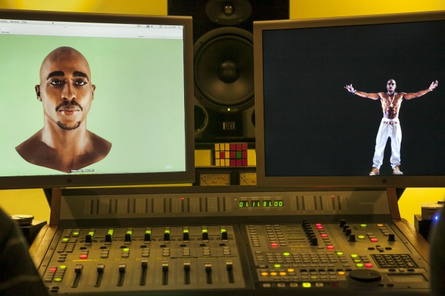 In this photo taken Tuesday, June 12, 2012, video images of the Tupac Shakur hologram are displayed on a computer monitor at the Subtractive Studio in Santa Monica, Calif. When Tupac Shakur rose from the stage in the California desert earlier this year, it was not only a jaw-dropping resurrection, but also the beginning of a new form of live entertainment. Stars wield extensive control over how their names, voices and images are used after they die through likeness, trademark and copyright protections, and now holograms offer them yet another consideration. (AP Photo/Damian Dovarganes) Ref #: PA.14352646  Date: 12/06/2012
