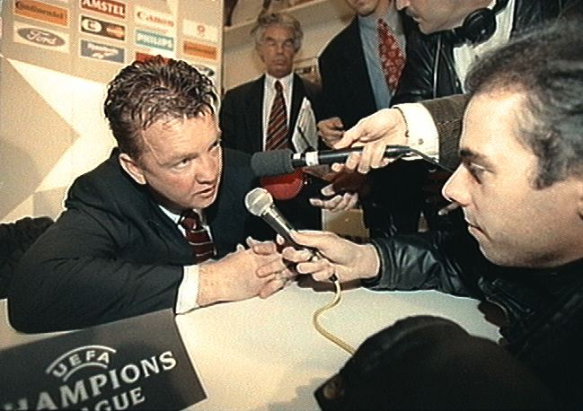 Ajax Manager Louis Van Gaal talks to the press  Champions League. Spartak Moscow v Blackburn Rovers%0D%0AGraeme Le Saux is %0D%0Atackled by teammate %0D%0ADavid Batty Date: 01/11/1995