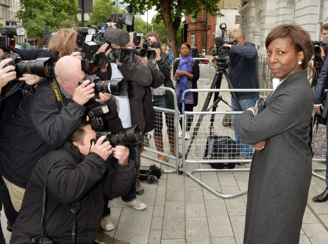 Constance Briscoe a barrister and part-time judge arrives at Westminster Magistrates Court in London for her first appearance for two counts of perverting the course of justice relating to statements made to Essex Police. Picture date: Monday June 24, 2013.