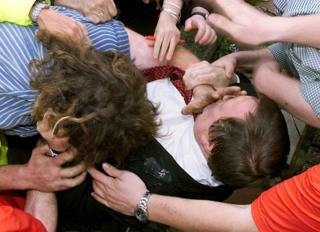 File photo dated 05/05/03 of former Deputy Prime Minister John Prescott being hit by an egg while surrounded by protesters in the North Wales seaside resort of Rhyl