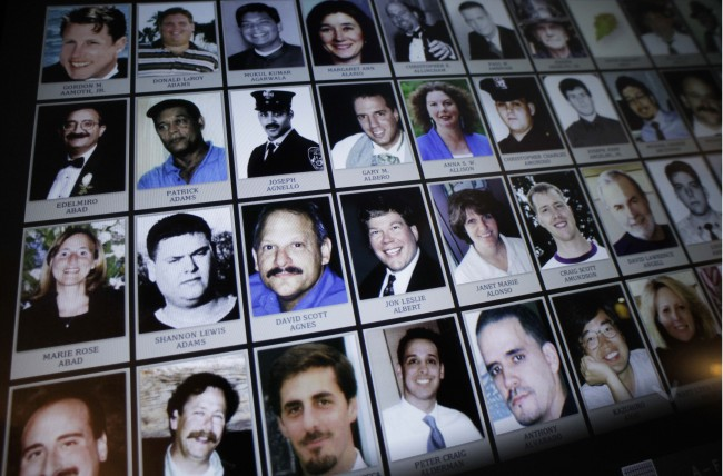 This Sept. 10, 2012 file photo shows electronic images of victims of the attacks of Sept. 11, 2001, destined to be a part of the future 9/11 Memorial Museum, during a news conference in New York