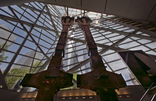 A pair of World Trade Center tridents, that once formed part of the exterior structural support of the east facade of the building