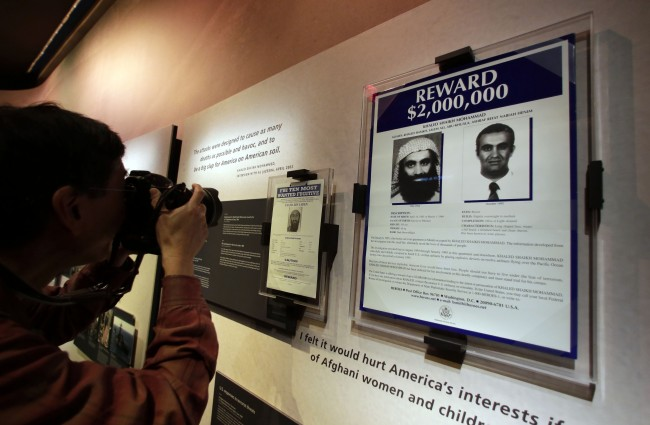 The wanted posters of Osama Bin Laden, left, and Khaled Shaikh Mohammad