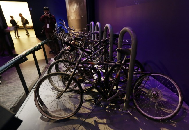 A salvaged bicycle rack, that was located on the northern edge of the World Trade Center site