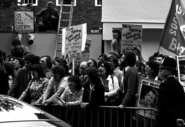 The Prime Minister's car after three eggs were thrown when Mrs Margaret Thatcher arrived at a reception for party workers. Police arrested three men and were booed by a crowd of jeering protesters as they led them away. Date: 05/06/1981
