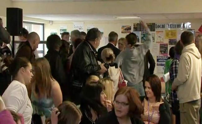 Videograbbed image of Conservative Party leader David Cameron (obscured) having an egg thrown at him by a youth (grey hooded top) during a visit to Cornwall College Saltash in Cornwall. Picture date: Wednesday April 21 2010.