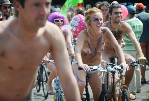 Naked cyclists in Brighton