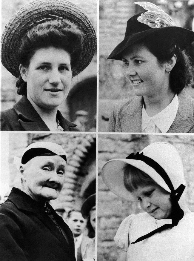 War or no war, milady makes it a point to look her best in Normandy. These were among the hat styles in evidence when women of the war-torn town of Vouilly in France on July 22, 1944, turned out for church services. (AP Photo)