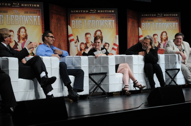 "In this photograph taken by AP Images for Universal Studios Home Entertainment, from left, T Bone Burnett, John Turturro, Julianne Moore, Jeff Bridges, and John Goodman are seen during a Q and A at a cast reunion celebrating ""The Big Lebowski"" Limited Edition Blu-ray release on Tuesday, Aug. 16, 2011, in New York. (Diane Bondareff/AP Images for Universal Studios Home Entertainment)"