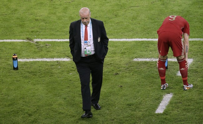 Spain's head coach Vicente Del Bosque, left, walks through the coach zone