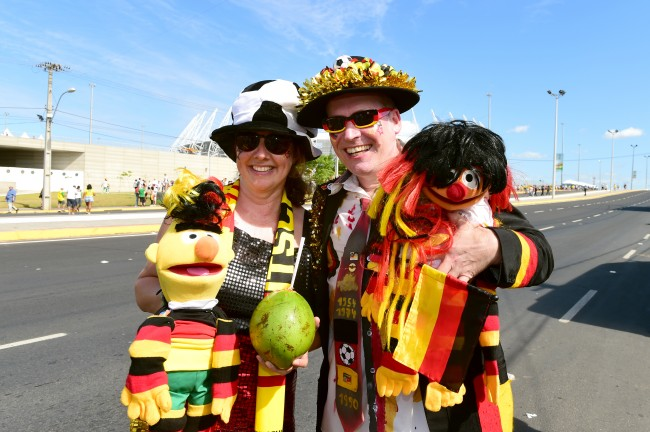 Germany fans soak up the atmosphere outside the Estadio Castelao