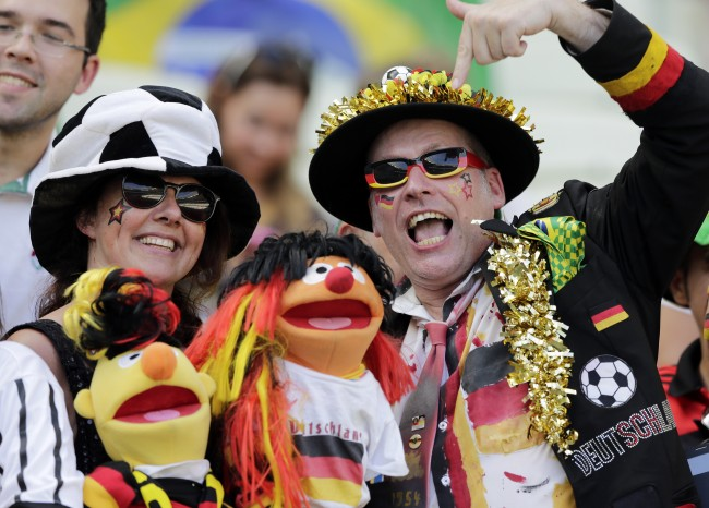 German supporters reacts before the group G World Cup soccer match between Germany and Ghana at the Arena Castelao in Fortaleza, Brazil, Saturday, June 21, 2014. (AP Photo/Matthias Schrader)