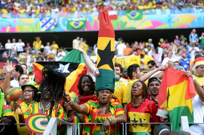 Ghana fans soak up the atmosphere in the stands at the Estadio Castelao