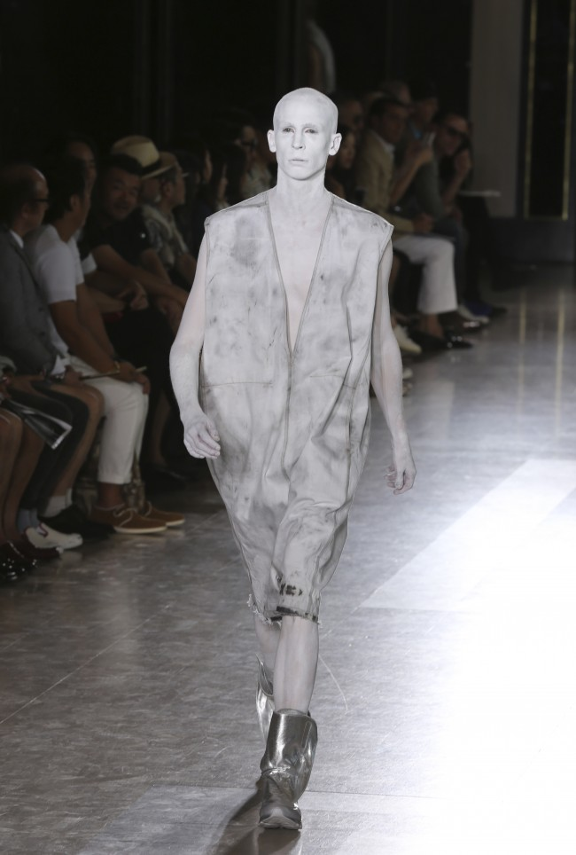 A model wears a creation for Rick Owens