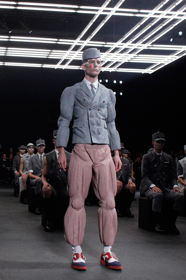 A model wears a creation by American designer Thom Browne, as part of his men's Spring-Summer 2015 fashion collection, presented in Paris, Sunday, June 29, 2014. (AP Photo/Thibault Camus)