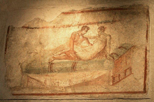 "An erotic frescoe is seen on the wall of the ""Lupanare"", the newly restored brothel which derives its name from the Latin word ""Lupa"" for ""prostitute"", in Pompeii"