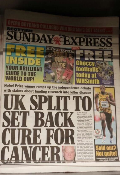 Screen shot 2014 06 08 at 10.04.41 Daily Express: Scottish Independence Gives You Cancer